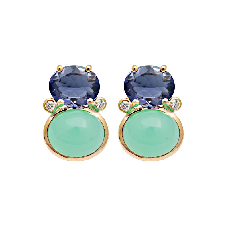 Earrings-Iolite, Chrysoprase and Diamond