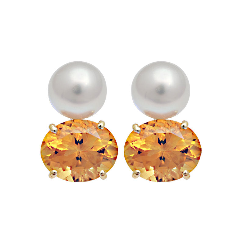 Earrings-Citrine and South Sea Pearl