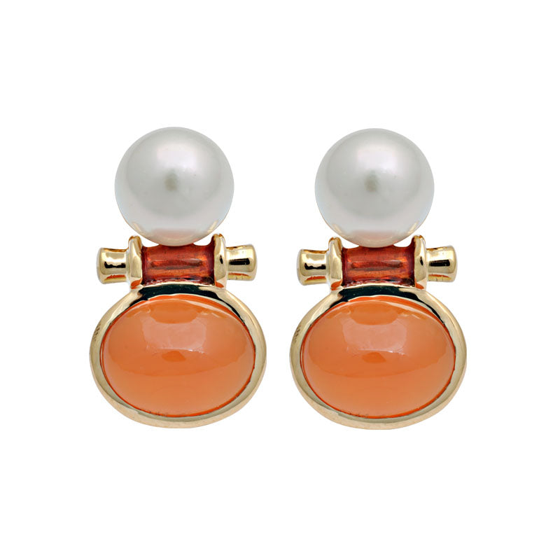 Earrings-Cornelian and South Sea Pearl (Enamel)