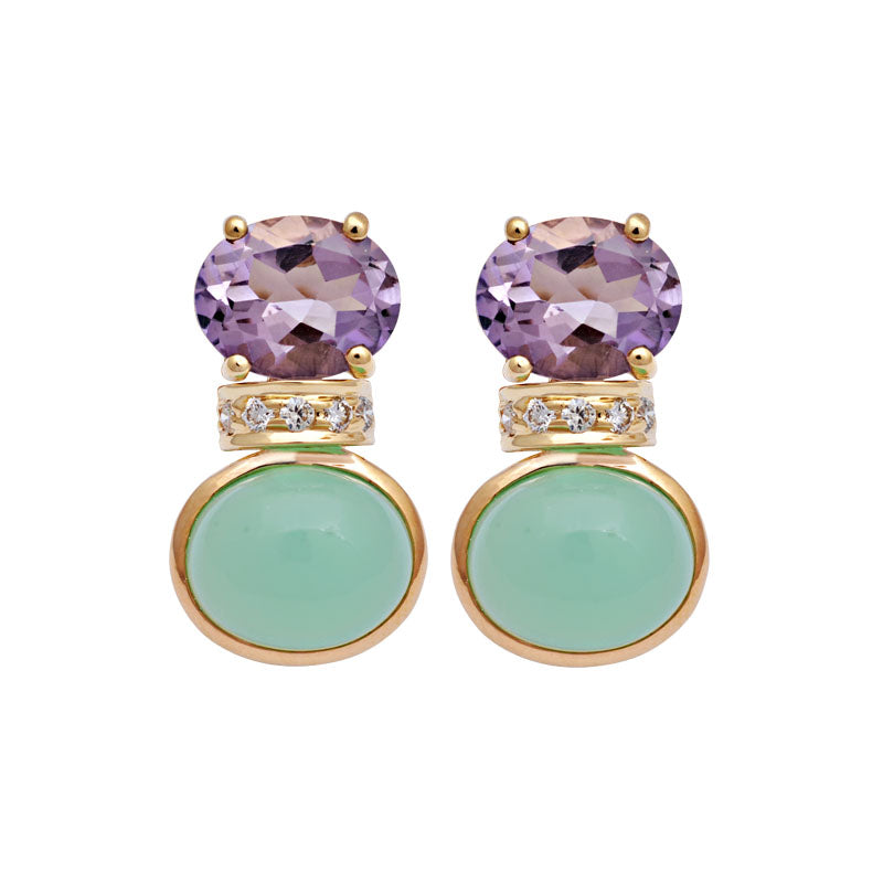 Earrings-Chrysoprase, Amethyst and Diamond