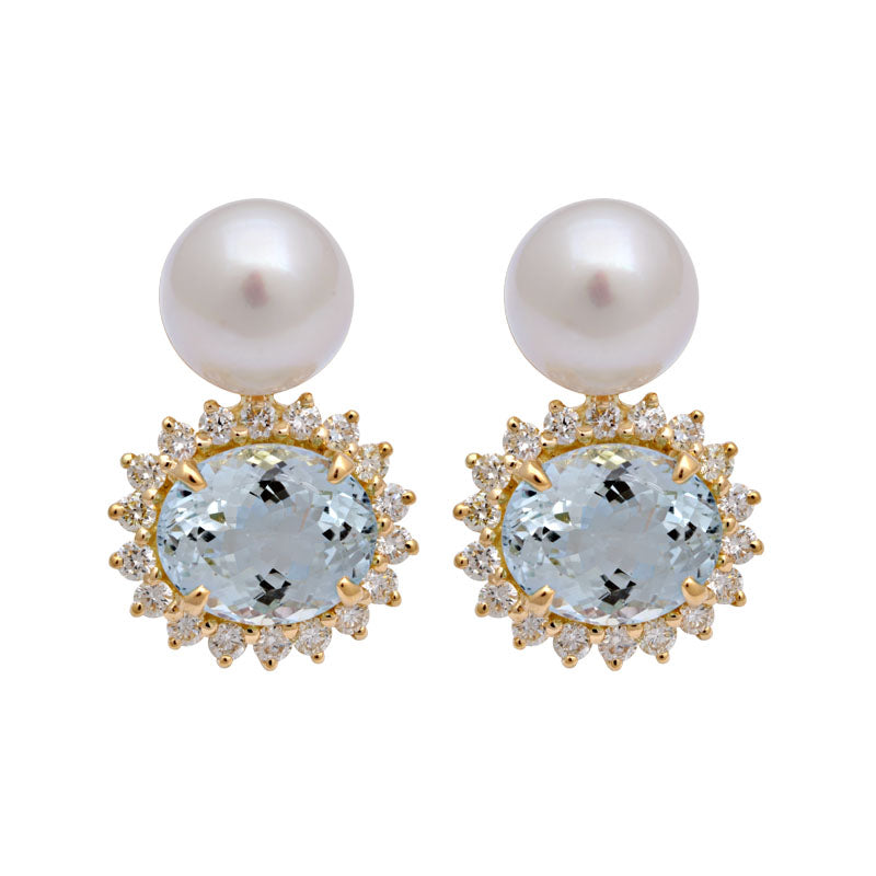Earrings-Aquamarine, South Sea Pearl and Diamond
