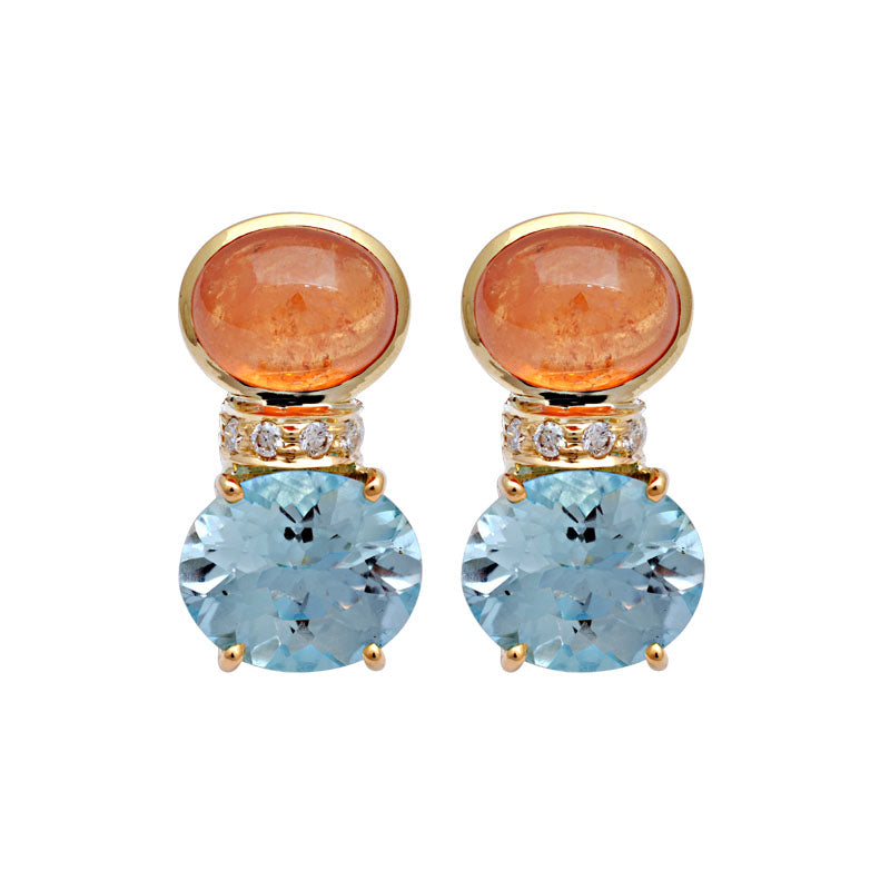 Earrings-Orange Garnet, Blue Topaz and Diamond
