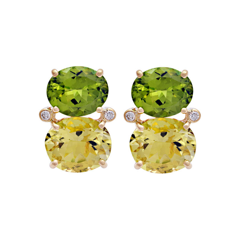 Earrings-Peridot, Lemon Quartz and Diamond