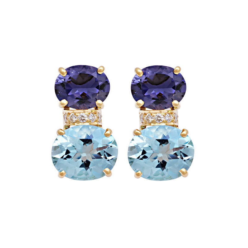 Earrings-Iolite, Blue Topaz and Diamond