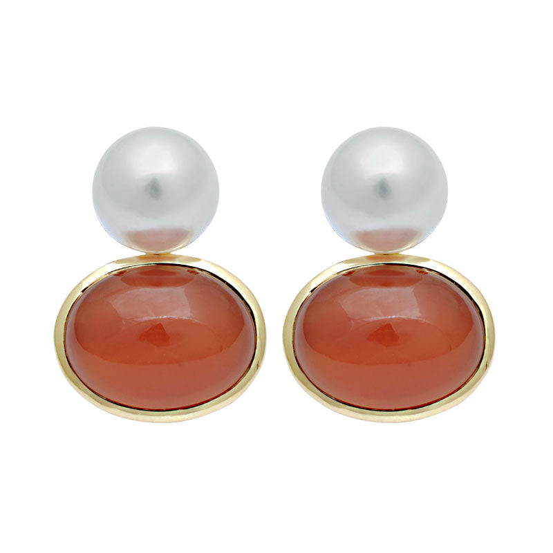Earrings-Cornelian and South Sea Pearl