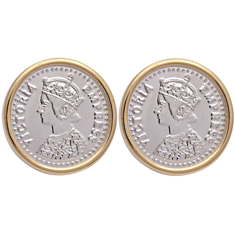 Earrings-Plain Gold With Silver Coin
