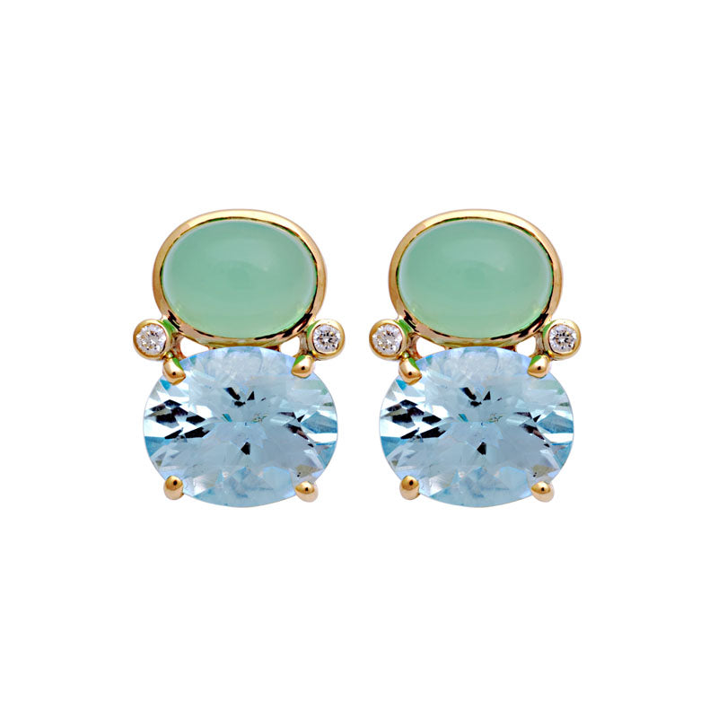 Earrings-Blue Topaz, Chrysoprase and Diamond