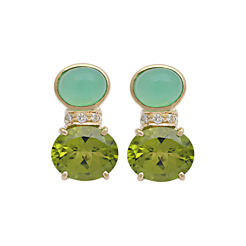 Earrings-Chrysoprase, Peridot and Diamond