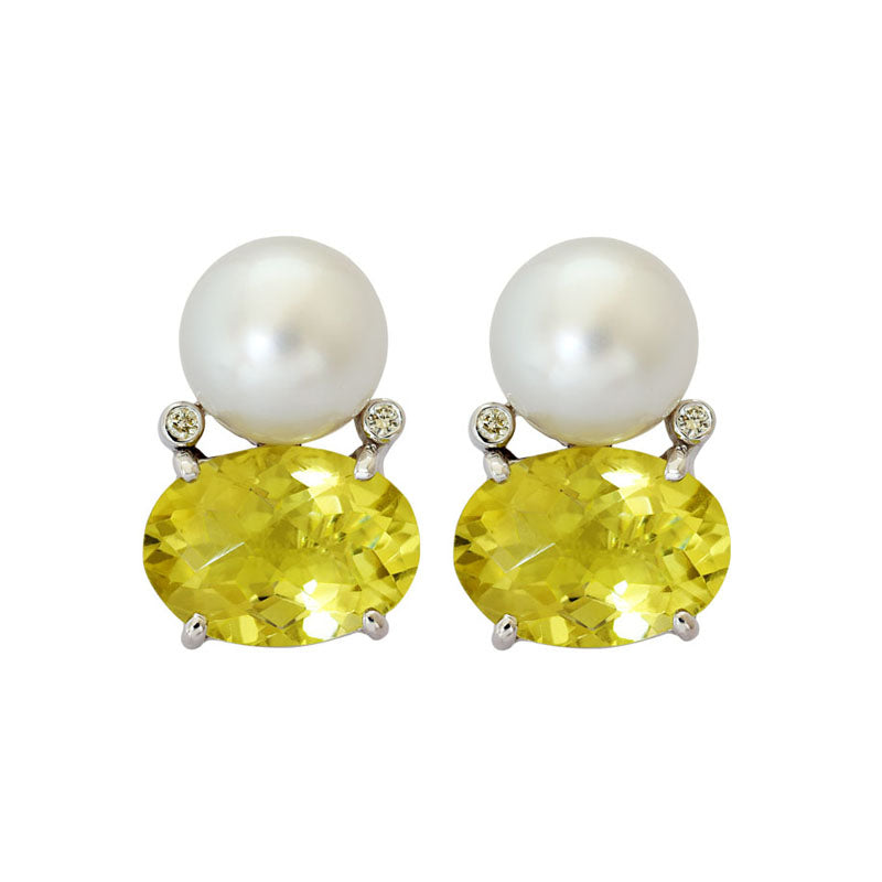 Earrings-Lemon Quartz, South Sea Pearl and Diamond