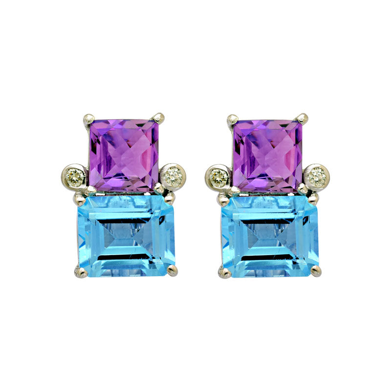 Earrings-Blue Topaz, Amethyst and Diamond