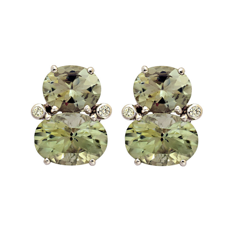 Earrings-Green Quartz and Diamond