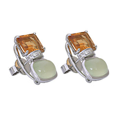 Earrings-Prehnite, Citrine and Diamond