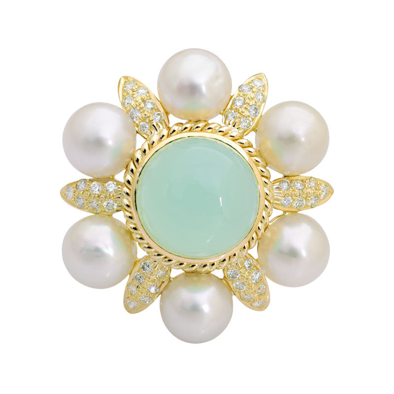 Brooch-Chalcedony, South Sea Pearl and Diamond