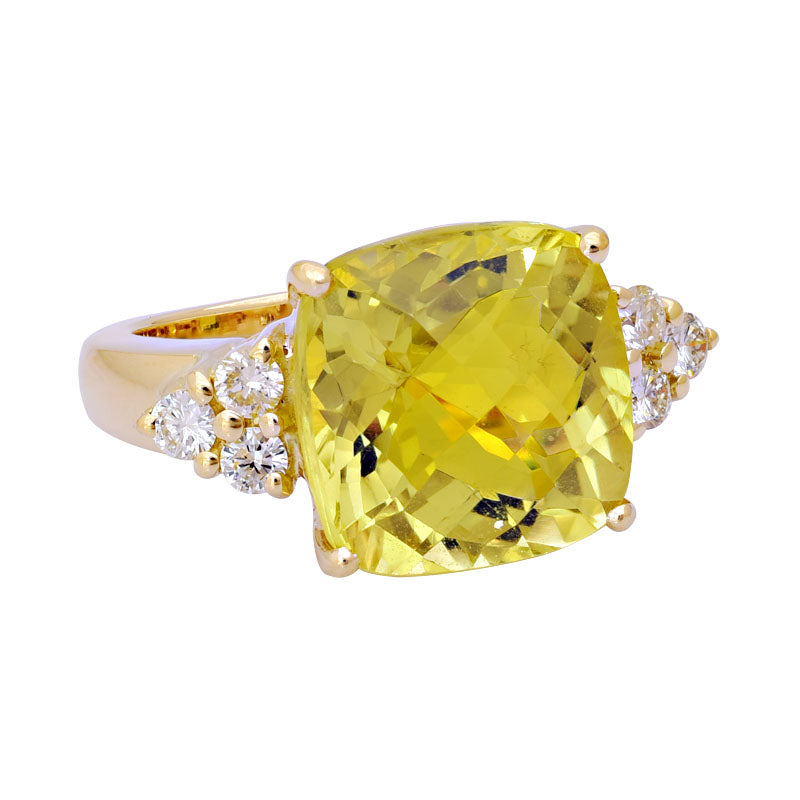 Ring-Lemon Quartz and Diamond