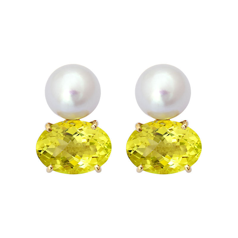 Earrings-Lemon Quartz and South Sea Pearl
