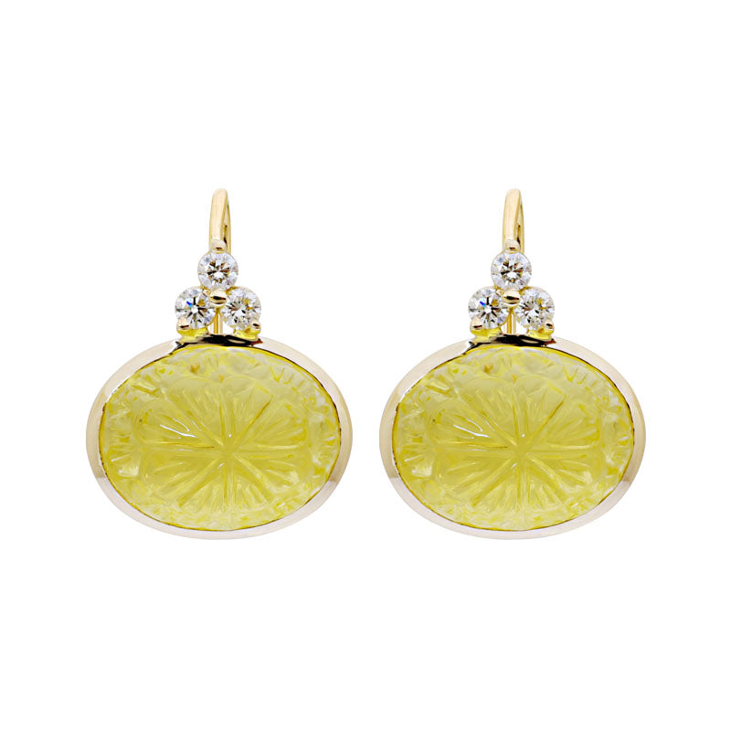 Earrings-Lemon Quartz and Diamond