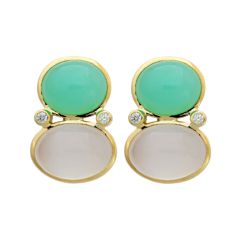 Earrings-Moonstone, Chrysoprase and Diamond