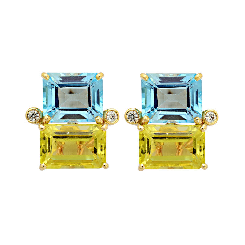 Earrings-Blue Topaz, Lemon Quartz and Diamond