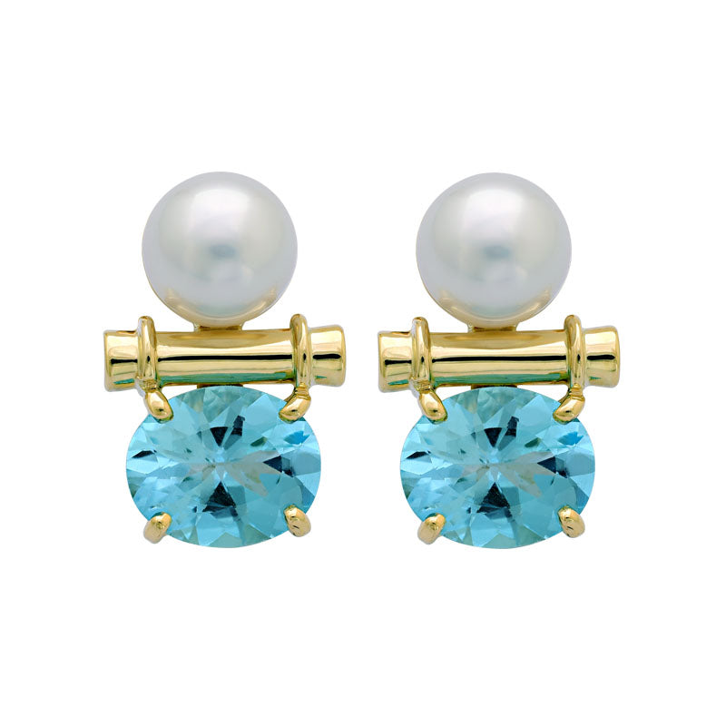 Earrings-Blue Topaz and South Sea Pearl