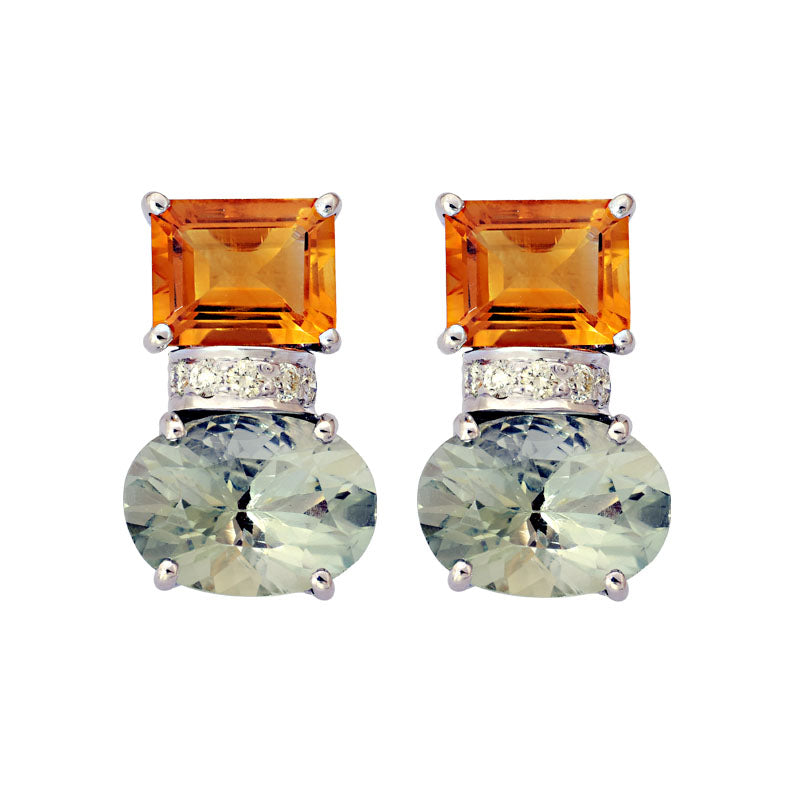 Earrings-Citrine, Green Quartz and Diamond