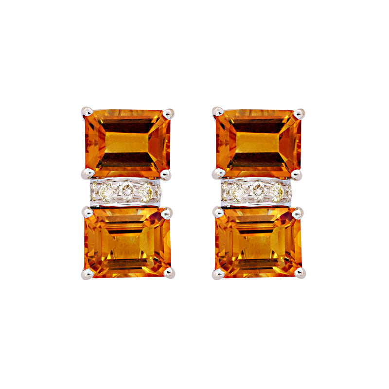 Earrings-Citrine and Diamond