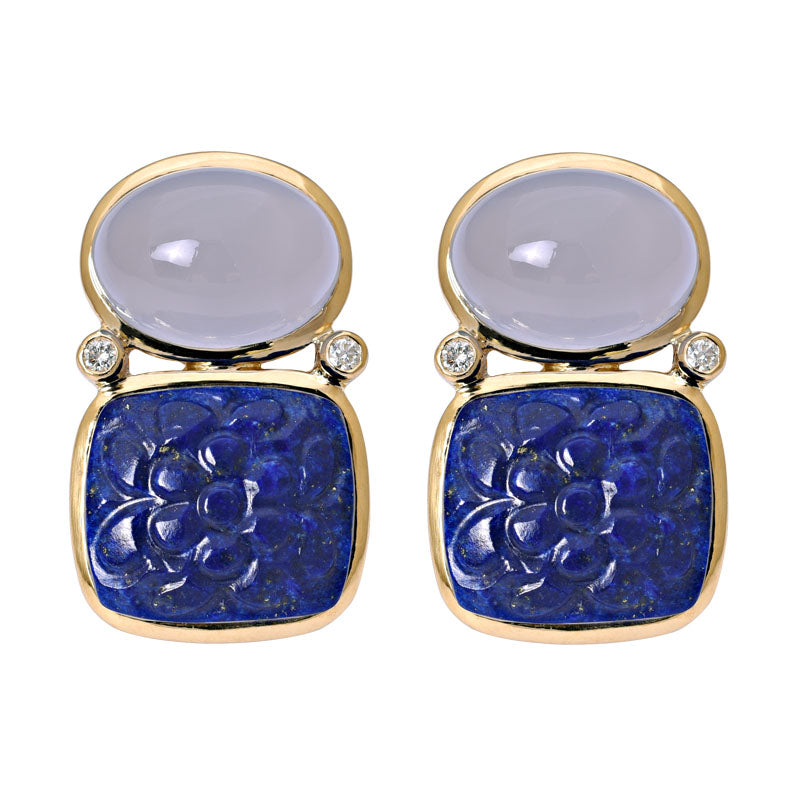 Earrings-Chalcedony, Lapis Lazuli and Diamond