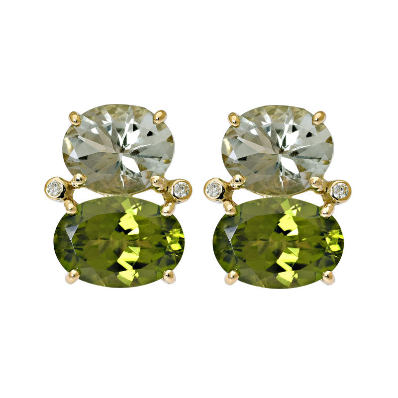 Earrings-Green Quartz, Peridot and Diamond