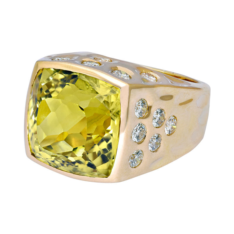 Ring- Lemon Quartz and Diamond