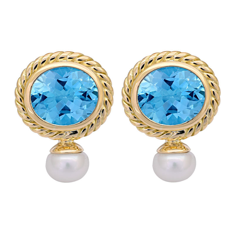 EARRINGS- BLUE TOPAZ AND PEARL