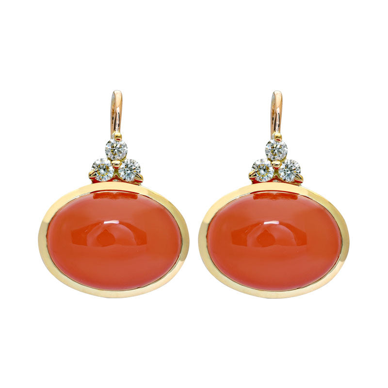 Earrings- Cornelian and Diamond