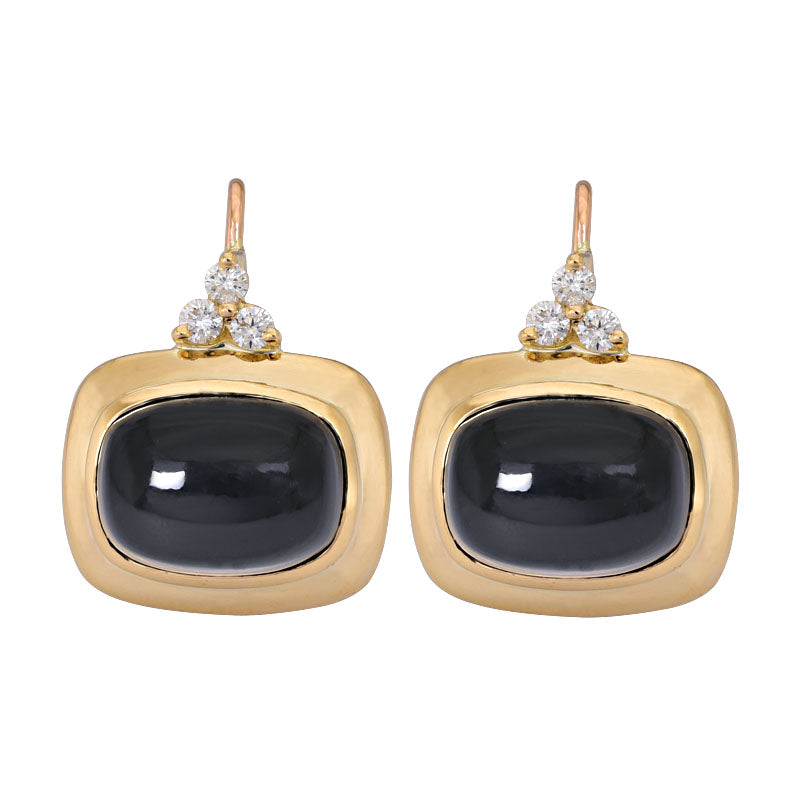 Earrings- Black Onyx and Diamond