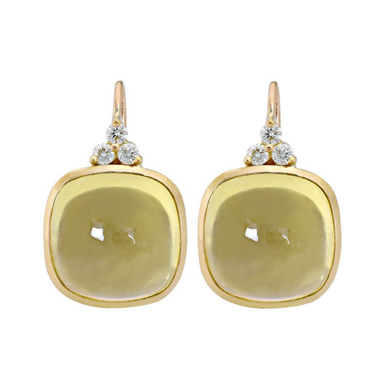 Earrings- Lemon Quartz and Diamond