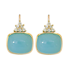 Earrings- Chalcedony and Diamond