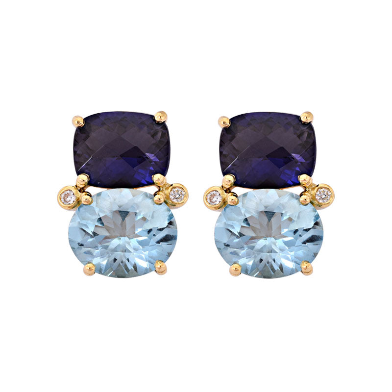 Earrings- Iolite, Blue Topaz and Diamond