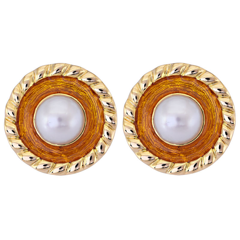 Earrings- South Sea Pearl (Enamel)