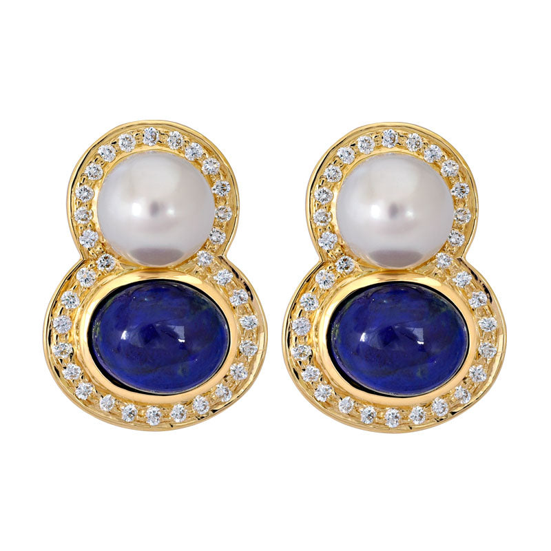 Earrings- Lapis Lazuli, South Sea Pearl and Diamond