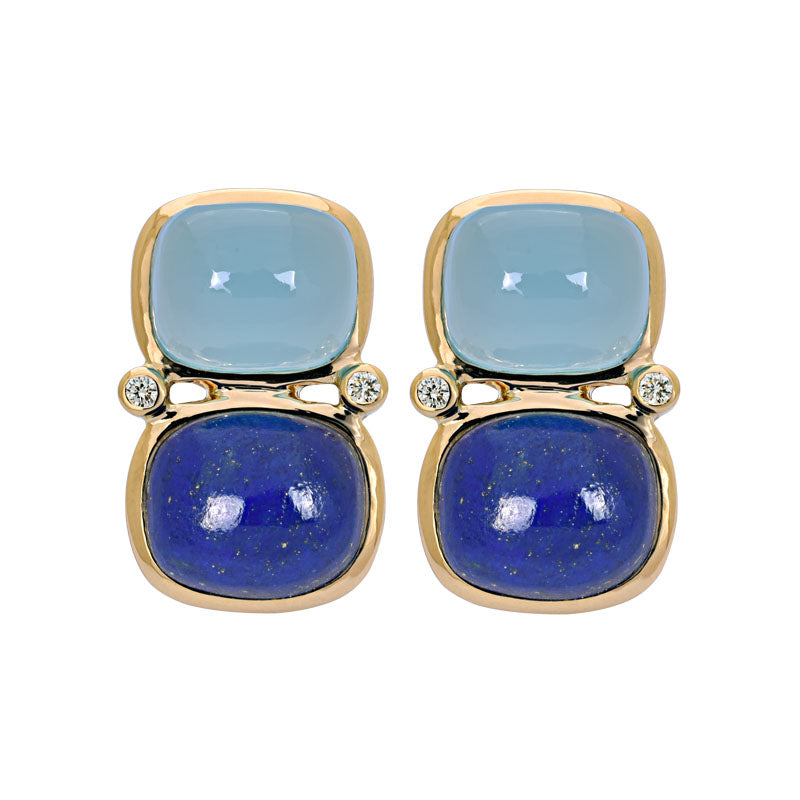 Earrings- Chalcedony, Lapis Lazuli and Diamond