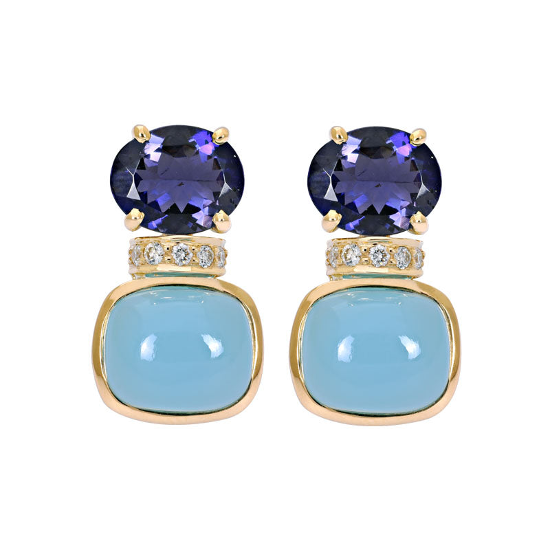 Earrings- Iolite, Chalcedony and Diamond