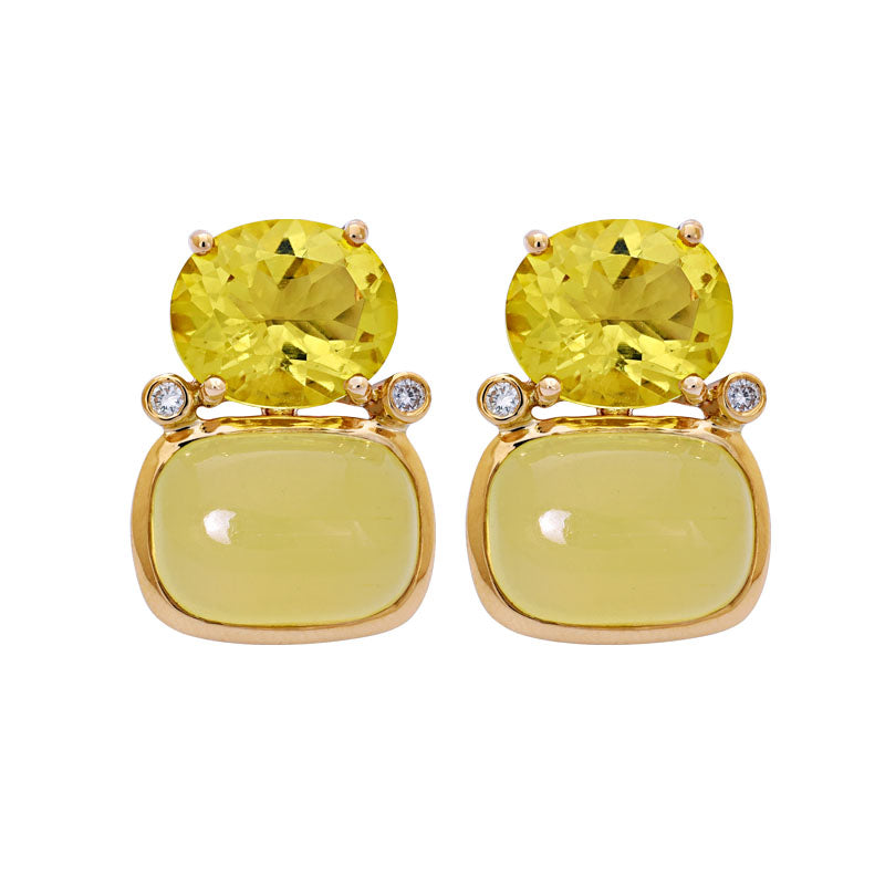 Earrings- Lemon Quartz, Beryl and Diamond