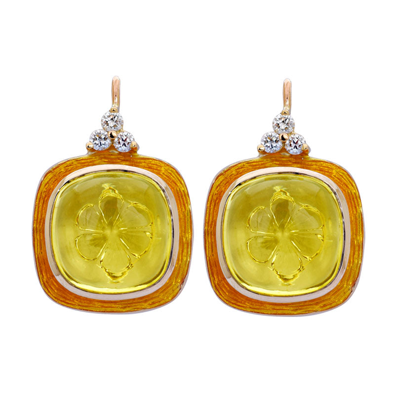 Earrings- Lemon Quartz and Diamond (Enamel)