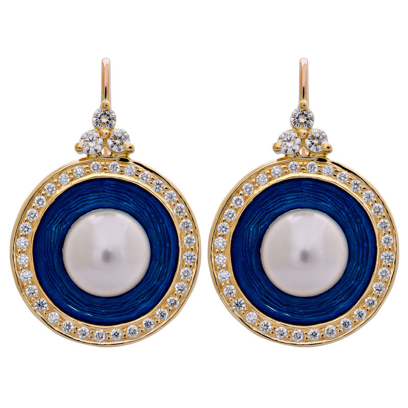 Earrings- South Sea Pearl and Diamond (Enamel)