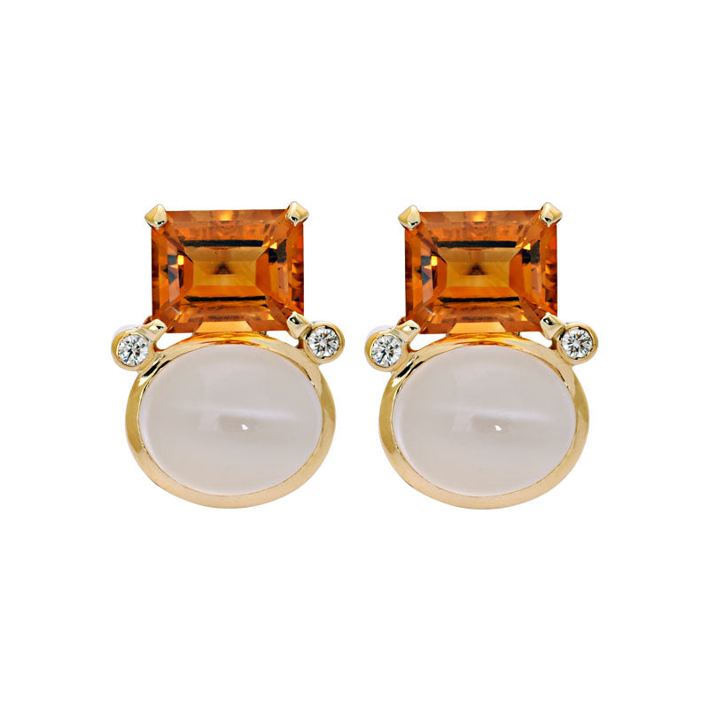 Earrings- Citrine, Moonstone and Diamond