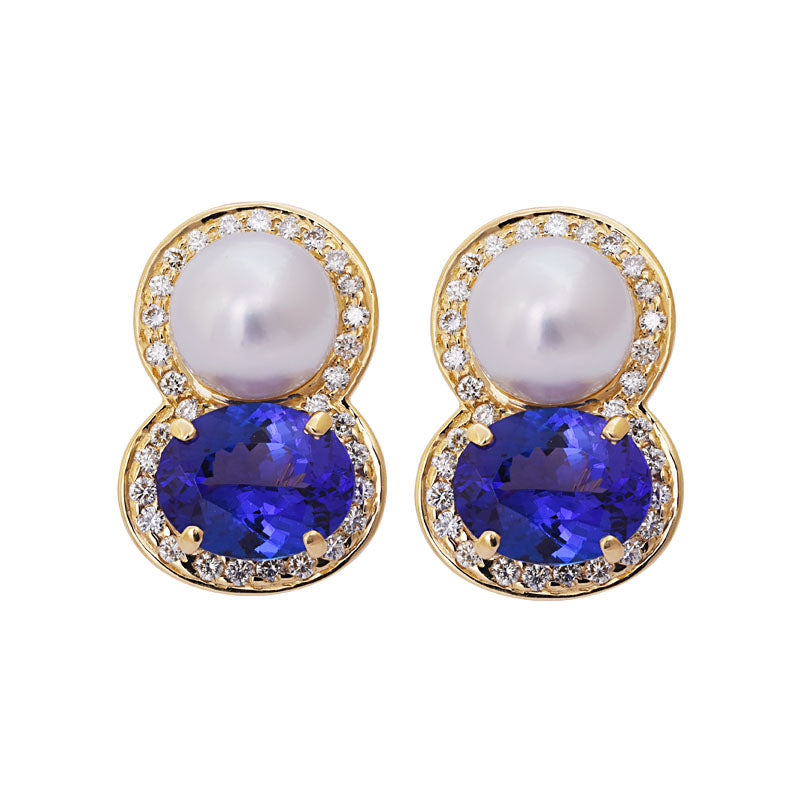 Earrings- Tanzanite, South Sea Pearl and Diamond