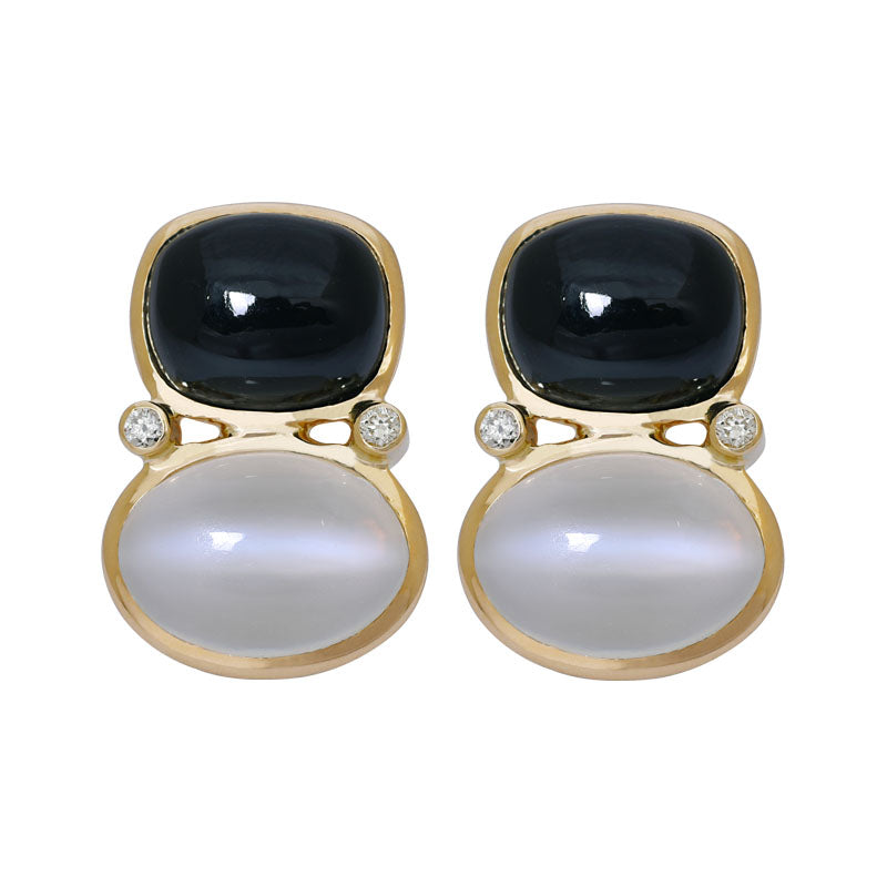 Earrings- Black Onyx, Moonstone and Diamond
