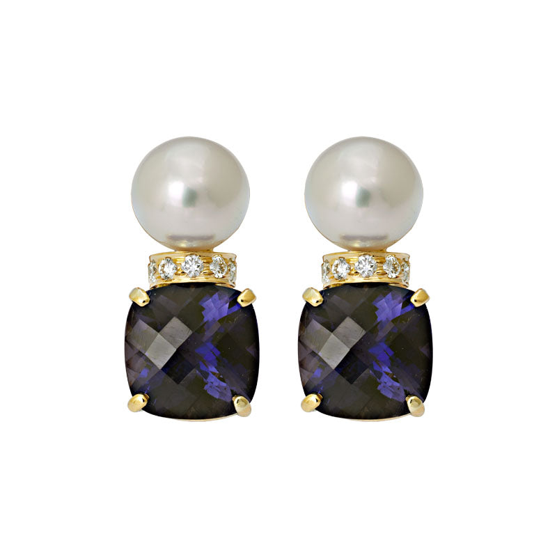 Earrings- Iolite, South Sea Pearl and Diamond