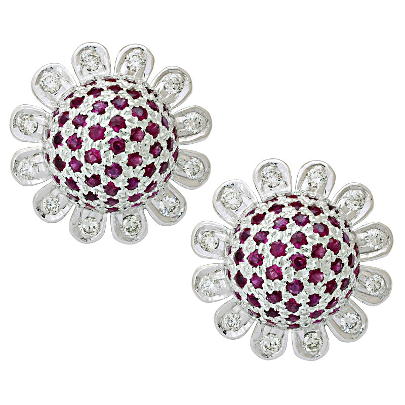 Earrings-Ruby and Diamond