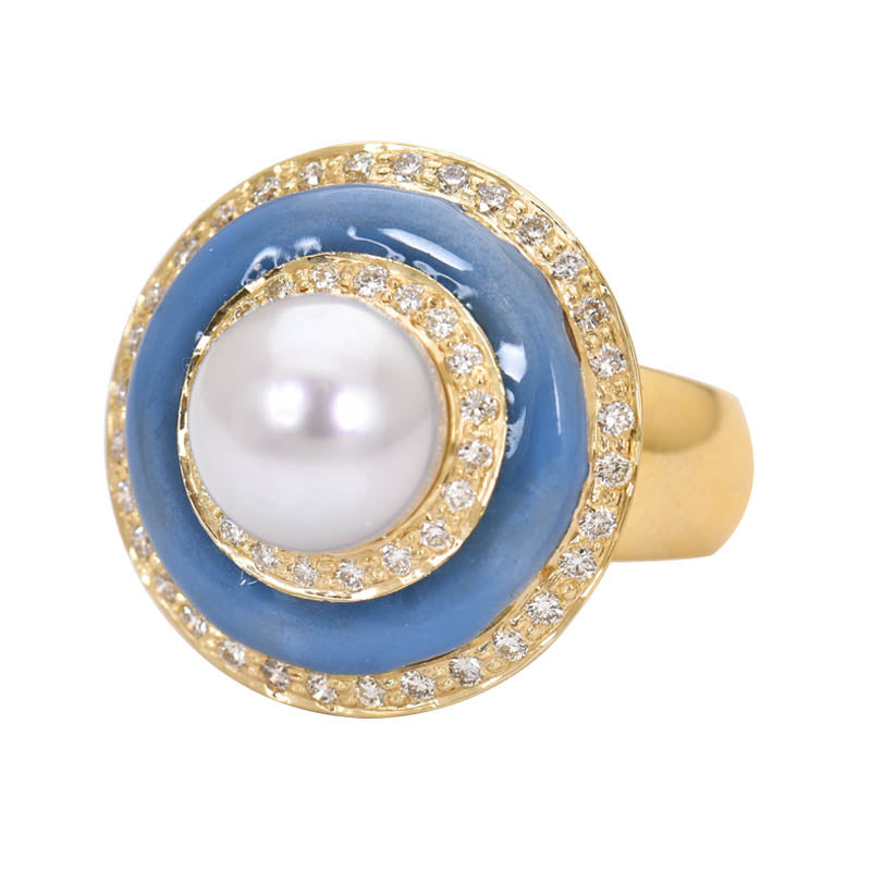 Ring- South Sea Pearl and Diamond (Enamel)