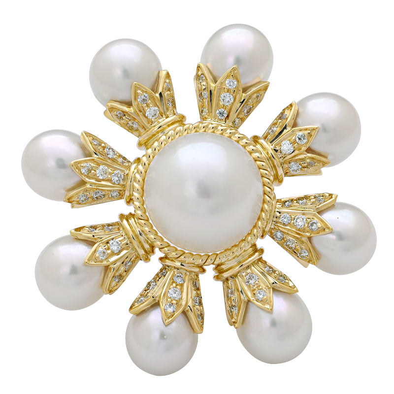 BROOCH- S.S. PEARL AND DIAMOND IN 18K GOLD