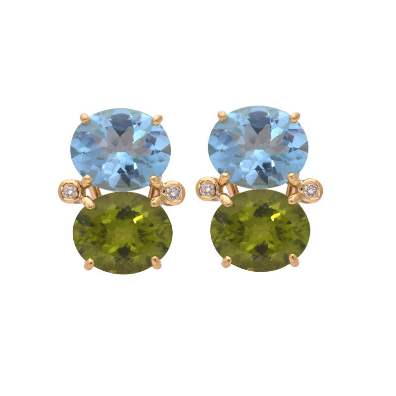 EARRINGS - BLUE TOPAZ, PERIDOT AND DIAMOND
