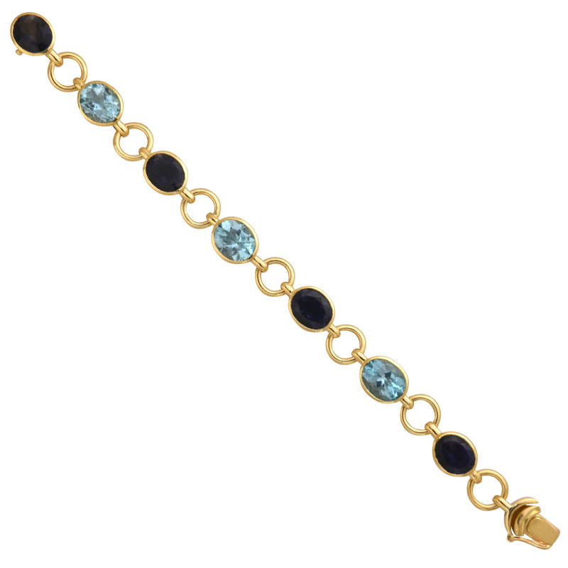 BRACELET- BLUE TOPAZ AND IOLITE IN 18K GOLD